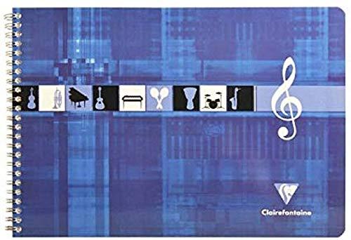 Clairefontaine 8104C - Un cahier à spirale de musique à l'italienne (format paysage) 50 pages 29,7x21cm 8 portées - couverture carte pelliculée Bleu klein