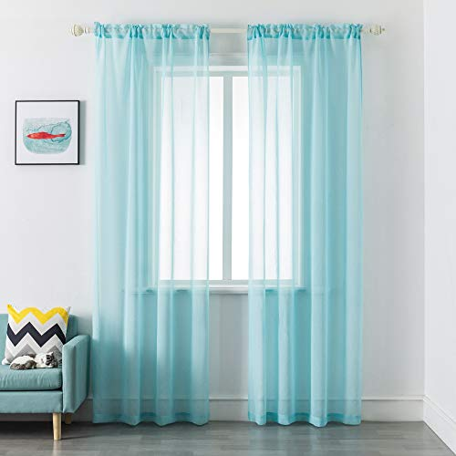 DUALIFE Aqua Sheer Curtains 95 Inch Length, Semi Sheer Curtain Drapes for Living Room Bedroom Nursery Kitchen Bathroom Privacy Voile Window Treatment Panels,Light Blue,52 x 95 Inches,Set of 2
