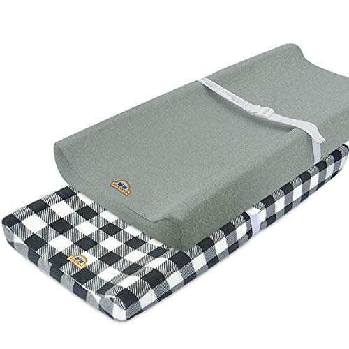 Super Soft and Stretchy Changing Pad Cover 2pk by BlueSnail Grey buffola Plaid
