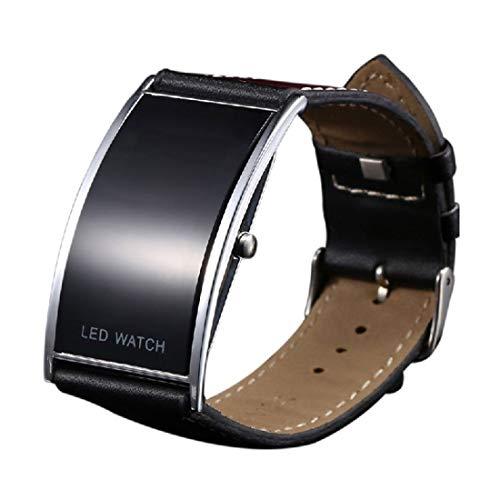 Digitale Unisex-LED-Armbanduhr, superdünnes, schwarzes Armband