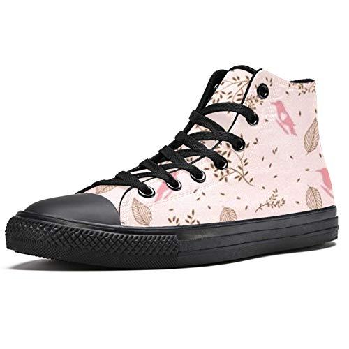 Anmarco rojo pájaro alta superior zapatillas de deporte para las mujeres adolescentes Gilrs moda encaje hasta zapatos de lona casual escuela caminar zapatos, color Multicolor, talla 38.5 EU