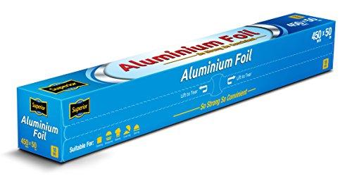 Superior rolla de papel aluminio premium, trabajo pesado, servicio de abastecimiento comida 45cm x 50m., 1 Roll