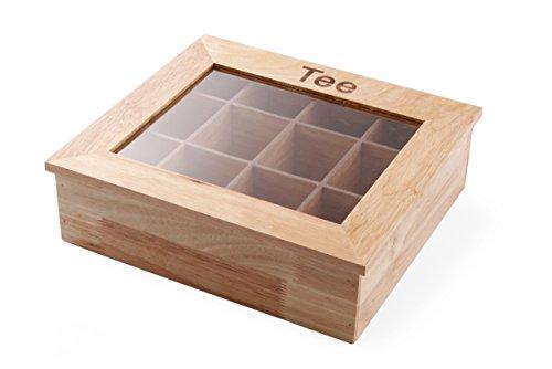 HENDI Teebox, Holzbox mit Sichtfenster, 12 Acryl Kammern, Dokorative Teedose, 300x280x(H)90mm