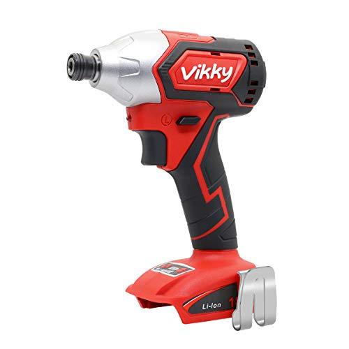 Vikky - Destornillador de impacto inalámbrico, 18 V, sin escobillas, 4 velocidades, par máximo 2920 en lb, 1/4 pulgadas, destornillador hexagonal, función parada automática, herramienta desnud