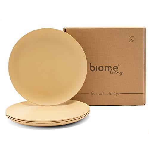 Biome Living Set de 4 platos lisos de bambú, sin BPA - Platos de bambú elegantes y ecológicos - Vajilla de bambú para adultos y niños Ø 25x1,8 cm. - Set de 4 piezas (Avellana)