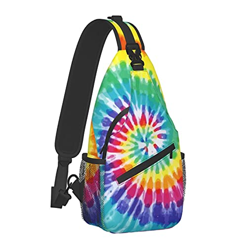 Riainbow Tie Dye Unisex Chest Bags Crossbody Sling Backpack Travel Hiking Daypack for Women Men Shoulder Bag for Casual Sport Climbing Runners