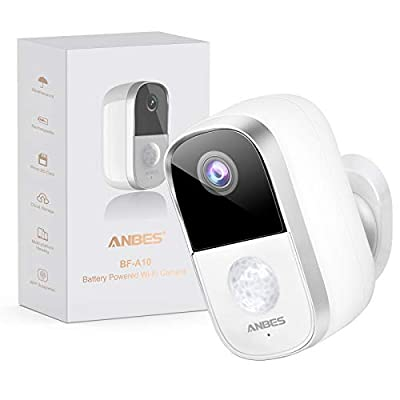 Security Camera Outdoor, Anbes Rechargeable Battery Powered Wireless Camera for Home Security, PIR Motion Detection, Night Vision, 1080P, Waterproof Surveillance Camera with Cloud Storage/SD Slot