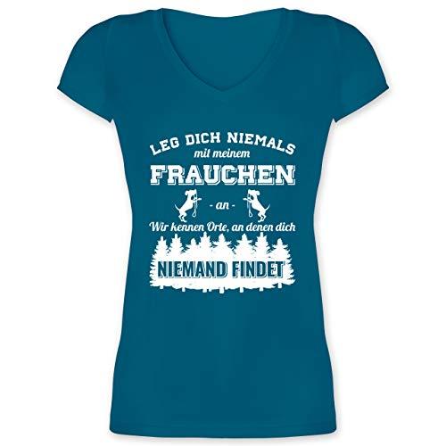 Hunde - Leg Dich Niemals mit Meinem Frauchen an - L - Türkis - t Shirt Hund und Frauchen sprüche - XO1525 - Damen T-Shirt mit V-Ausschnitt