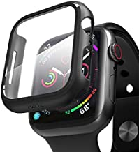 pzoz Compatible Apple Watch Series 6 /5 /4 /SE 44mm Case with Screen Protector Accessories Slim Guard Thin Bumper Full Coverage Matte Hard Cover Defense Edge for Women Men New Gen GPS iWatch (Black)