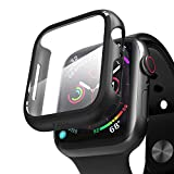 pzoz Compatible for Apple Watch Series 6/5 /4 /SE 44mm Case with Screen Protector Accessories Slim Guard Thin Bumper Full Coverage Matte Hard Cover Defense Edge for Women Men GPS iWatch (Black)