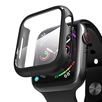 pzoz Compatible for Apple Watch Series 6/5 /4 /SE 44mm Case with Screen Protector Accessories Slim Guard Thin Bumper Full Coverage Matte Hard Cover Defense Edge for iWatch Women Men GPS  Black