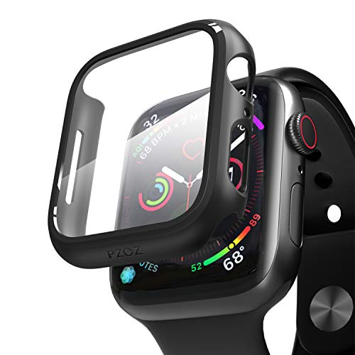pzoz Compatible for Apple Watch Series 6/5 /4 /SE 44mm Case with Screen Protector Accessories Slim Guard Thin Bumper Full Coverage Matte Hard Cover Defense Edge for iWatch Women Men GPS (Black)