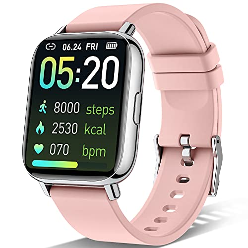 Sudugo Smartwatch Mujer, 1,69' Táctil Completa Reloj Inteligente con Monitor de Sueño, Pulsómetro, Cronómetro, Calorías Podómetro Impermeable IP67 Pulsera Actividad Inteligente para Android iOS, Rosa