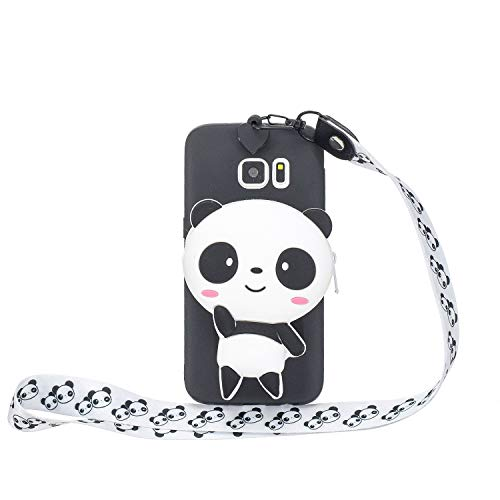 Huphant kompatibel mit Samsung Galaxy S6 Edge hülle Silikon Dünn Cartoon Brieftasche Nackenschlinge Stoßstange Anti-Scratch Silikon Case Samsung Galaxy S6 Edge Handyhülle -Panda