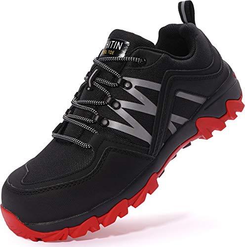 WHITIN Sicherheitsschuhe mit Stahlkappe Schuhe Leicht Indestructible Shoes Schutzschuhe rutschfeste Arbeitsschuhe Wanderschuhe Sicherheits Herren Schwarze Rot 45 EU