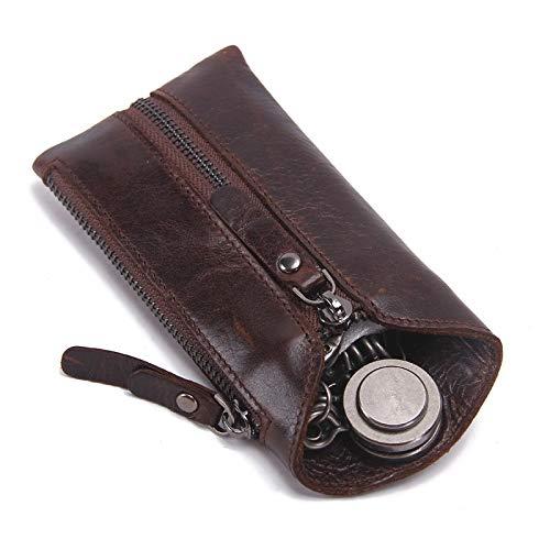 Portachiavi per auto Vintage Genuine Leather Portafoglio uomini chiave for l'automobile Keychain Cover Holder Zipper Caso chiave sacchetto maschio chiave Pulizie Chiavi Organizer ( Color : Darkbrown )