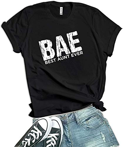 Decrum Black Best Auntie Ever Shirts Womens - Best Aunt Ever Gifts [40021014-AG]   BAE, L