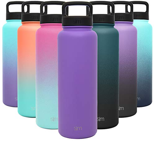 Simple Modern 40 Ounce Summit Water Bottle - Stainless Steel Liter Flask +2 Lids - Wide Mouth Tumbler Double Wall Vacuum Insulated Purple Leakproof -Lilac