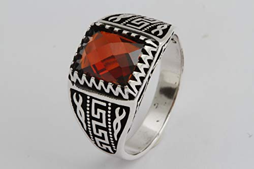 Turkish Style Handmade Jewelry Rectangle Shape Ruby 925 Sterling Silver Men's Ring All Size Option