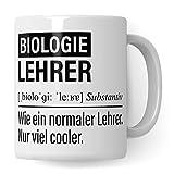 Biologie Lehrer Tasse, Geschenk für Biologielehrer, Kaffeetasse Geschenkidee Bio Lehrer, Kaffeebecher Lehramt Schule Biologie Unterricht Witz