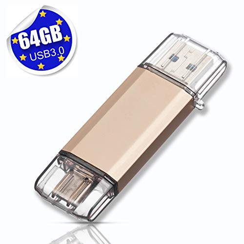 USB Stick 64GB USB C Stick Dual Memory Stick USB 3.0 Flash Drive 2 in 1 Typ-C Speicherstick USB Flash Gold