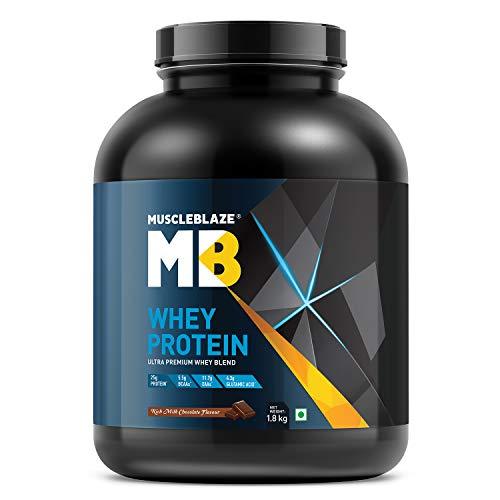 MuscleBlaze 100% Whey Protein, Ultra Premium Whey Blend (Rich Milk Chocolate, 1.8 kg / 4 lb, 54 Servings)