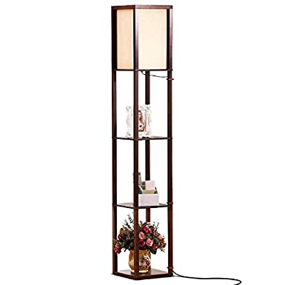 Brightech Maxwell - LED Shelf Floor Lamp - Modern Standing Light for Living Rooms & Bedrooms - Asian Wooden Frame with Open Box Display Shelves
