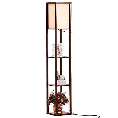 Brightech - Maxwell LED Shelf Floor Lamp – Modern Asian Style Standing Lamp with Soft Diffused Uplight White Shade- Wooden Frame with Convenient Open Box Display Shelves- Havana Brown