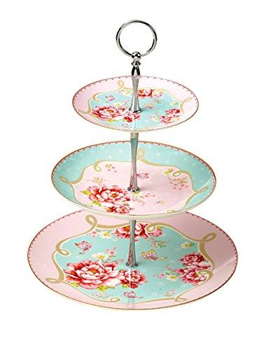 Etagere Vintage mit 3 Stöckig aus Porzellan in Pink und Türkis mit Rosenmotiven - FineBoneChina Landhaus Vintage