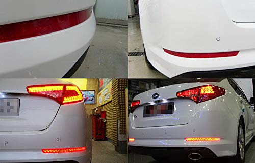 Function as Tail /& Brake Lamps iJDMTOY Brilliant Red 40-SMD LED Bumper Reflector Lights For 11-13 Kia Optima K5