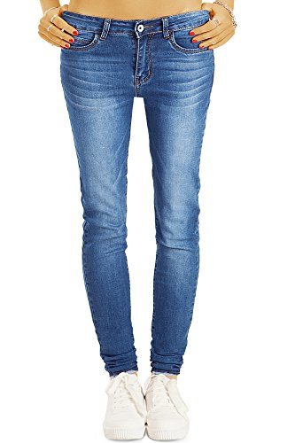 bestyledberlin Damen High Waist SkinnyJeans, Basic Blue Jeans Hoher Bund, Sehr Enge Röhrenjeans j32l 44/XXL