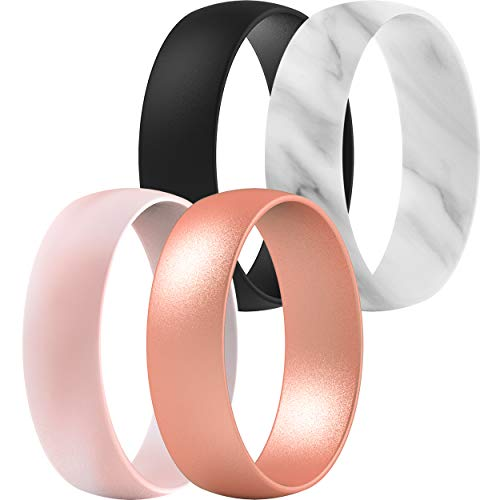 ThunderFit Silicone Wedding Rings for Men & Women - 6.3mm Wide - 1.65mm Thick (Black, Marble, Light Pink Mix, Rose Gold, 7.5 - 8 (18.2mm))