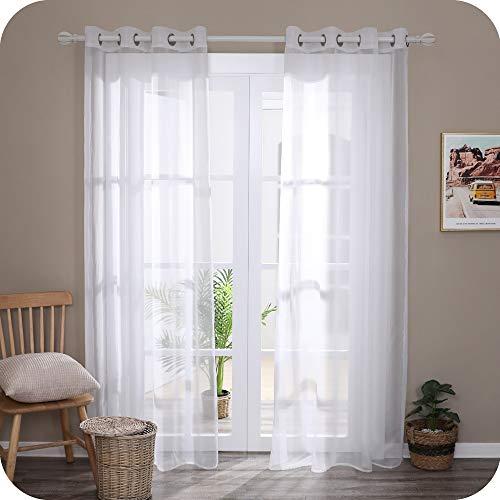 UMI Amazon Brand Cortinas Visillos Translucidas de Color Liso 2 Paneles con Ojales 140 x 280 cm Blanco