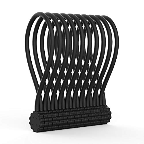 Rich&Ray Silicone Magnetic Twist Ties,Reusable Magnetic Ties for Bundling and Organizing Cable/Cord,Hanging or Holding Stuff,Kitchen Magnets,Office Magnets,Or Just for Fun (Black-10Pack)