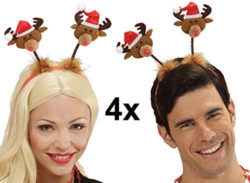 Party-Teufel® 4 Stück Rentier Köpfe mit roter Mütze wackeln auf Haarreifen Weihnachtshut Weihnachtsmütze Weihnachtsfeier Nikolausfeier Weihnachtsmarkt