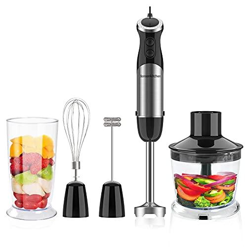 Bonsenkitchen Stabmixer 4-in-1 Set, 800W Anti-Splash Edelstahl Pürierstab mit 500 ml Food Chopper, 600 ml Becher, Schneebesen, Handrührer, BPA-freier