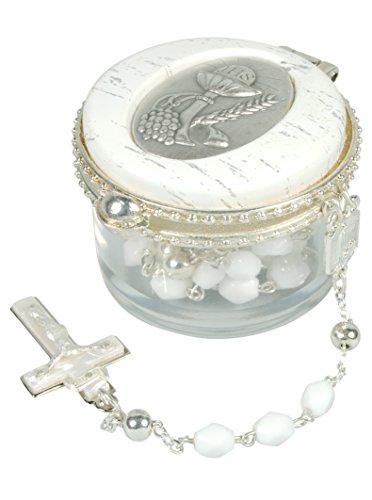 Anz zur Heiligen Kommunion. Rosenkranz in Weiß & Silber, im Deckeldöschen
