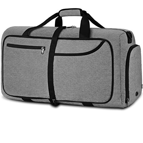 NEWHEY Foldable Travel Duffle Bags for Men Weekend Overnight Bag Sports Gym Bag with Shoe Compartment Folding Luggage Holdall Bag Water Resistant 80 Grey