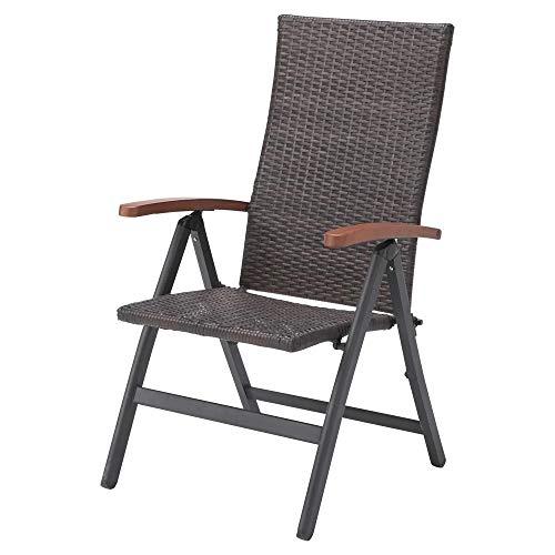 ガーデンチェア 椅子 Chair 手編み高級人工ラタン ウィッカー 折りたたみ ガーデンファニチャー BT742-C 送料無料