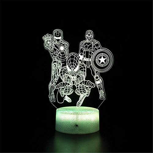 Lámpara 3D Visual 3D Luz de Noche Iron Man Capitán América Spiderman 16 Color Cambio de Lámpara de Noche con Control Remoto Lámpara de Mesita de Noche Regalos de Cumpleaños para Niños y Adultos