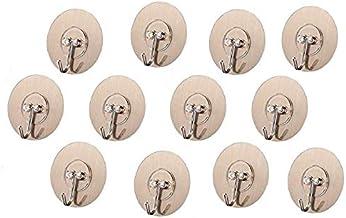 ADTALA 12 Pcs Adhesive Hooks Kitchen Wall / Bathroom Heavy Duty 13.2lb(Max) Wall Hooks Utility for Towel Bathrobe Coats,Bathroom Kitchen Waterproof and Oil Proof Nail Free Transparent Heavy Duty Wall Hook & Ceiling Hanger (12 Pcs, Code-127 Round Sticker)