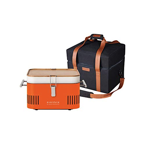 Everdure by Heston Blumenthal Cube Portable Charcoal Grill and Cover Bundle: Perfect for Picnics, Tailgating, Beach, Camping or Tabletop Patio BBQ, Lightweight and Compact, Orange