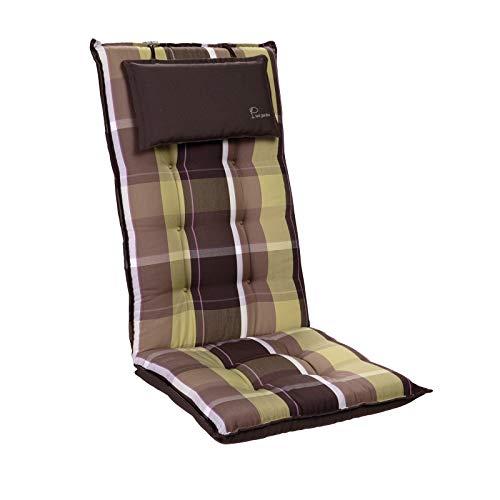 Homeoutfit24 Sylt - Cojín Acolchado para sillas de jardín, Hecho en Europa, Respaldo Alto con cojín de Cabeza extraíble, Resistente Rayos UV, Poliéster, 120 x 50 x 9 cm, 1 Unidad, Marrón/Verde