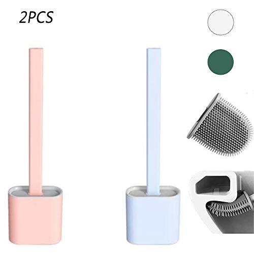 BYBDLZJDJB 2 Uds 2020 Nuevo Cepillo De Silicona para Inodoro De Cabeza Plana Flexible Suave con Soporte Creativo WC Juego De Soporte De Secado Rápido para Baño (A Set)