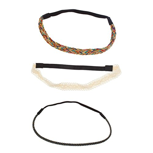 Lux Accessories Lace Fabric Woven Rainbow Braided Stretch Headband Set Head Band (3pc)