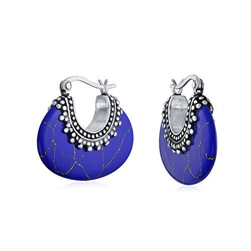 Bali Style Tribal Blue Lapis Crescent Hoop Pendientes para mujer Oxidado oxidado Caviar Bead 925 Sterling Silver