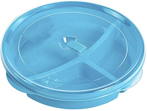 Microwave Food Storage Tray Containers - 3 Section/Compartment Divided Plates w/Vented Lid (Assorted)