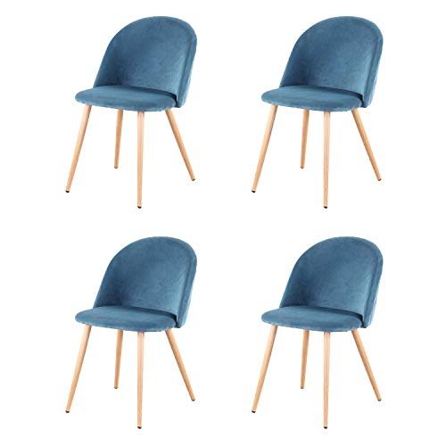 Sim Luxury Sillas de Comedor de Terciopelo Vintage Patas de Metal con Acabado Natural, sillas para salón, Dormitorio, Cocina, Azul, 4pcs