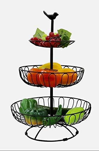 Auroni Obstkorb Obstschale Gemüse Etagere 3 stöckig -schwarz- modern Metall Draht-Korb Aufbewahrung Landhausstil mehr Platz auf der Arbeitsfläche Küche Vintage