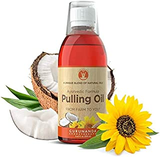 GuruNanda Oil Pulling Oil, Natural Mouthwash, Ayurvedic Blend of Coconut, Sesame, Sunflower, & Peppermint Oils. A Refreshing Oral Rinse - Helps Bad Breath, Healthy Gums + Whitens Teeth. (8.45 fl. oz).
